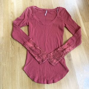 Free People Thermal Lace Top Pink Size Small